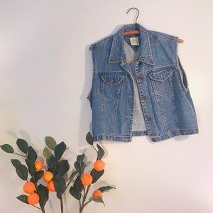Vintage Retro 90's Denim Crop Jean Vest